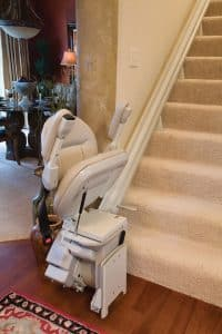 folded indoor stair lift bottom of steps