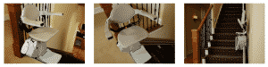 3 images of stair lift folded and unfolded at top and bottom of stairs