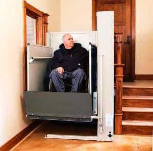 man using indoor vertical residential platform