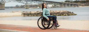 woman on manual wheelchair
