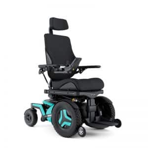 Power wheelchair facing left with two blue wheels on each side