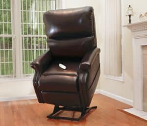 Brown power recliner in living room