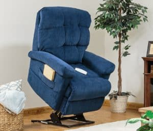 Blue power recliner in living room